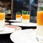 Receta de Lassys de papaya con Panna Cotta de coco
