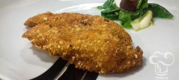 Receta de pechuga empanada con idiazabal y avellanas
