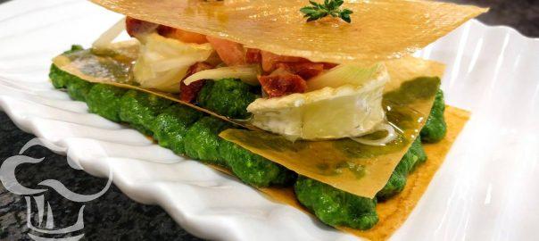 Receta de mil hojas de pesto de espinacas con queso de cabra
