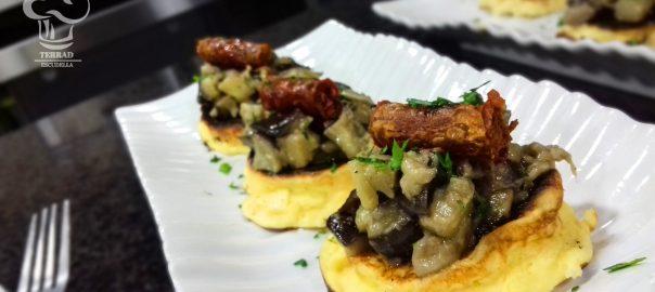 Receta de falso blinis de tortilla de patatas y chistorra