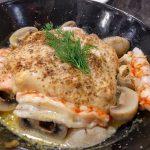 Receta de salmón asado con gambas