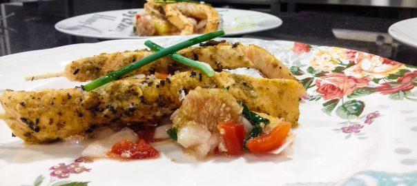 Receta de salmón con ensalada de higos