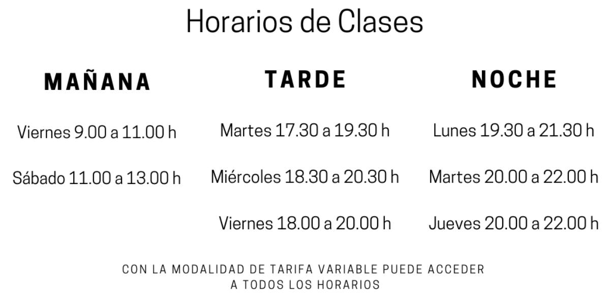 Horarios de los cursos en la Escuela de Cocina y Pasteleria