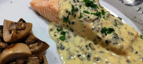 Salmon con setas