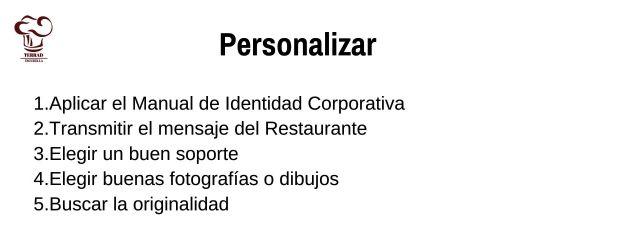 La carta de un restaurante