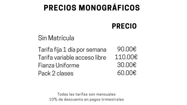 Precio de los cursos monográficos en la Escuela de Cocina y Pasteleria